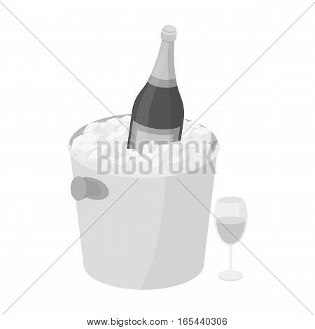 Champagne bottle in an ice bucket icon in monochrome desgn isolated on white background. France country symbol stock vector illustration. - stock vector