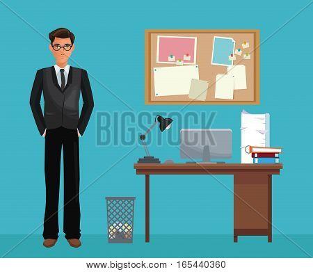 man glasses office work space desk notice board vector illustration eps 10