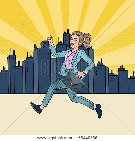 Pop Art Running Business Woman with Briefcase. Vector illustration
