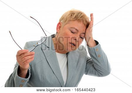 Portrait of business woman with headache islated on white