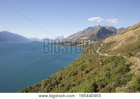 The Road along Lake Wakatipu from Queenstown to Glenorchy New Zealand