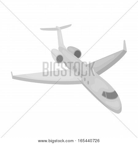 Airplane icon in monochrome design isolated on white background. Rest and travel symbol stock vector illustration.