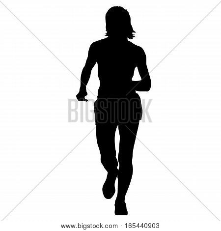 Silhouettes. Runners on sprint women vector illustration.