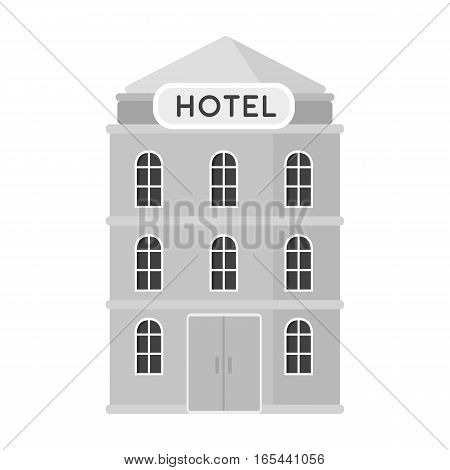 Hotel building icon in monochrome design isolated on white background. Rest and travel symbol stock vector illustration.
