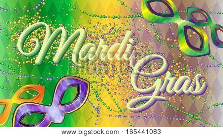 Vector carnival masks and beads on a gradient background with rhombus. Carnival Mardi Gras