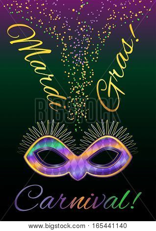 Vector picture with a mask on a gradient background. Carnival Mardi Gras
