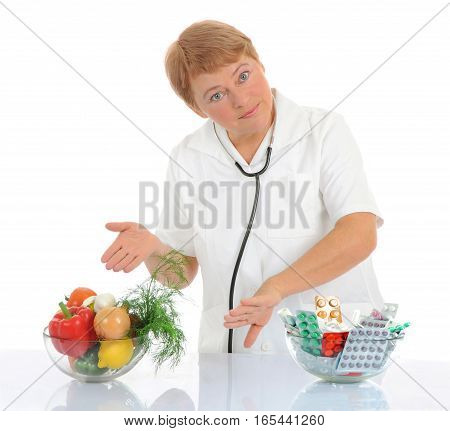 Doctor recommending healthy food isolated on white