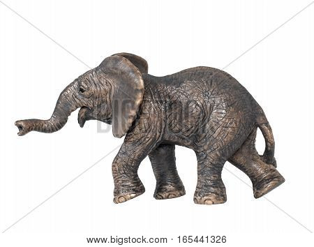 Toy elephant isolated on white background. Plastic toy elephant. Little  elephant walking isolated on a white background. The elephant is a symbol of the Republican Party.