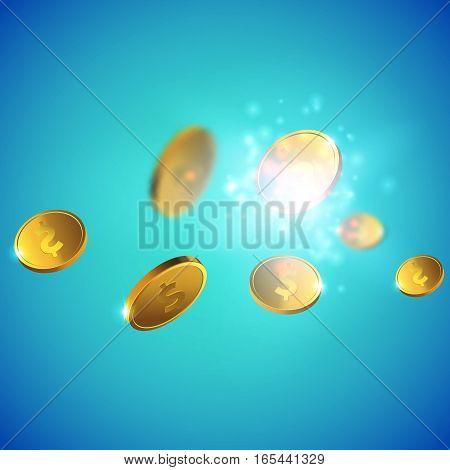 Vector Illustration of flying golden coins. Money illustration isolated on blue background.
