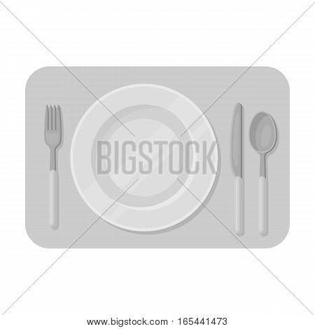 Served table icon in monochrome design isolated on white background. Rest and travel symbol stock vector illustration.