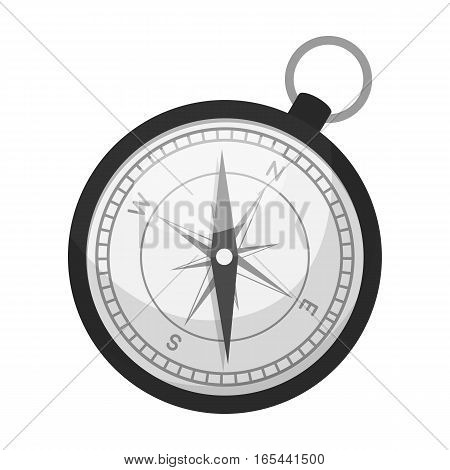 Compass icon in monochrome design isolated on white background. Rest and travel symbol stock vector illustration.