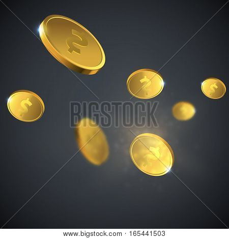 Vector Illustration of flying golden coins. Money illustration isolated on black background.