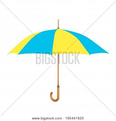 Modern umbrella in Ukrainian flag colors isolated on white background.