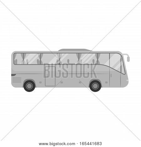 Green tour bus icon in monochrome design isolated on white background. Rest and travel symbol stock vector illustration.