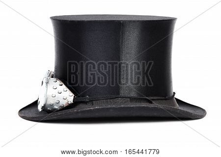 Black top hat with goggles isolated on white background
