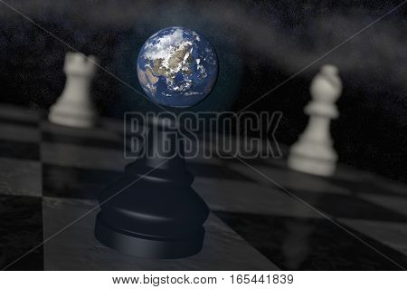 The earth on a chessboard as a symbol of danger (3d rendering)