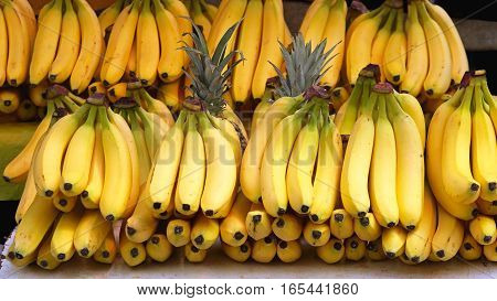 Bunch of Ripe Bananas at Grocery Store