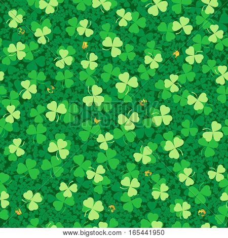 Vector seamless pattern of silhouettes of shamrocks three different tones.