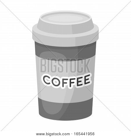 Disposable coffee cup icon in monochrome design isolated on white background. Hipster style symbol stock vector illustration.