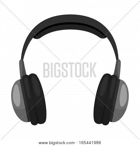 Vintage headphones icon in monochrome design isolated on white background. Hipster style symbol stock vector illustration.