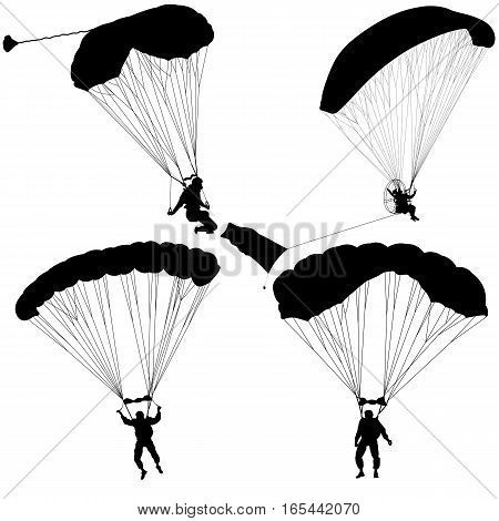 The Set skydiver silhouettes parachuting vector illustration.