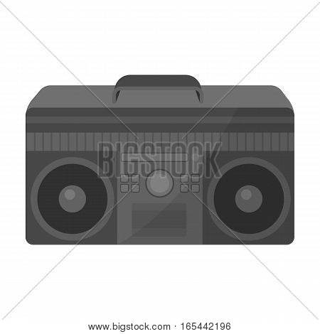 Boombox icon in monochrome design isolated on white background. Hipster style symbol stock vector illustration.