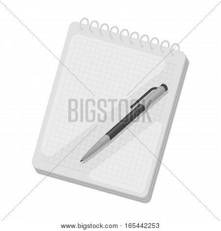 Notebook and pen icon in monochrome design isolated on white background. Hipster style symbol stock vector illustration.