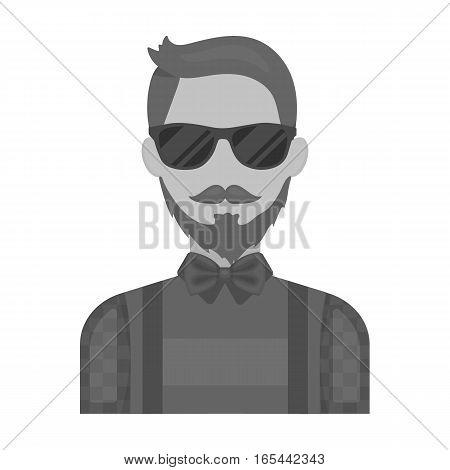 Hipster icon in monochrome design isolated on white background. Hipster style symbol stock vector illustration.