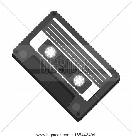Audio cassette icon in monochrome design isolated on white background. Hipster style symbol stock vector illustration.