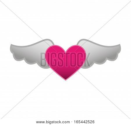game heart with wings isolated icon vector illustration design