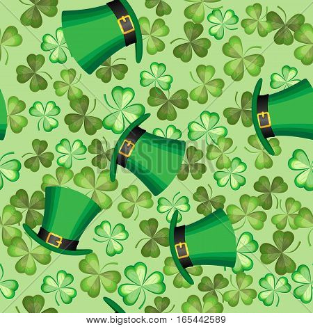 Vector seamless pattern of shamrocks and hat on a light green background