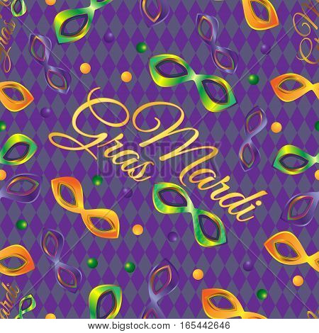 Masks Mardi Gras and the inscription in a vector seamless pattern