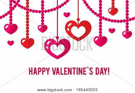 Happy valentines day card with red flat heart seamless garland isolated on white background. Art vector illustration.