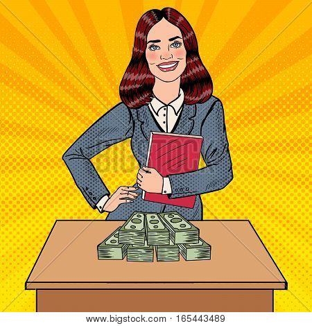 Pop Art Smiling Business Woman Standing Behind the Table with Money. Vector illustration