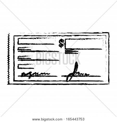 check with signature payment economy related icon image sketch line vector illustration design