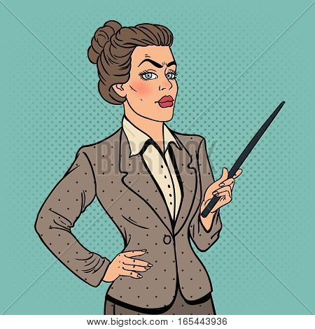 Pop Art Business Woman with Pointer Stick. Vector illustration