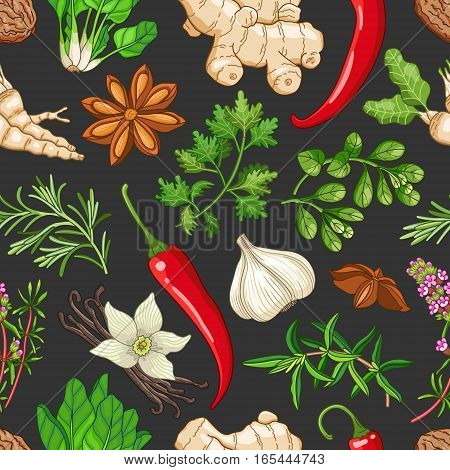 Vector hot seamless pattern with spices and herbs. Decorative colorful composition on dark background