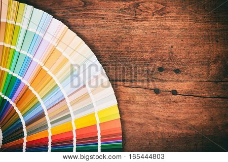 Color Palette On Wooden Background