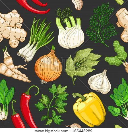 Vector vegetable seamless pattern with spices and herbs. Decorative colorful composition on dark background