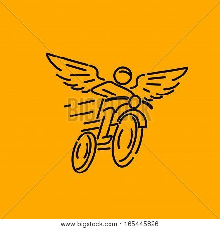 motorcycle rider with wings, vector illustration logo.