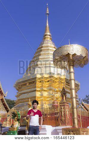 Asia man at Wat Phra That Doi Suthep, Chiangmai Thailand
