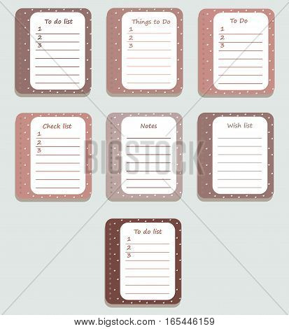 The sheets of the planner in the cute little white hearts. Diary.To Do List. Delicate colors in the style of