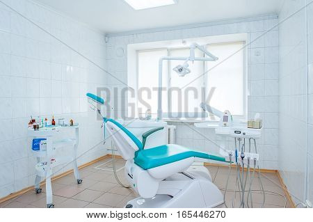 Empty Dental office with professional equipment and tools
