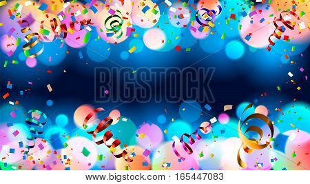 Dark blue holiday background with colorful shining bokeh and serpentine. 10 EPS