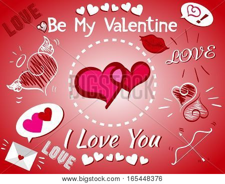 Be My Valentine, I Love You, Card, Bow and Arrow, Lips, Envelope, Hearts on Red-White Gradient Background, Vector Illustration EPS 10
