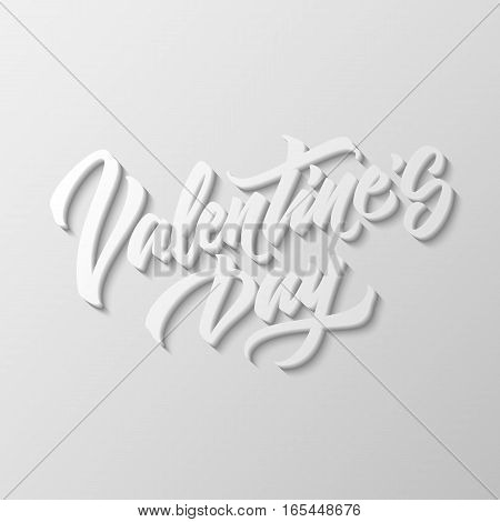 Valentines day, 14th february brushpen lettering, 3d oblique calligraphy with block blended shade for logo, design concepts, banners, labels, badges, prints, web. Vector illustration.