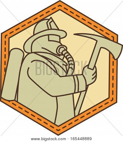 Mono line style illustration of a fireman fire fighter emergency worker holding a fire axe viewed from the side set inside shield crest on isolated background.