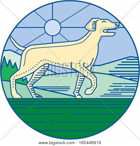Mono line style illustration of an english pointer dog in a pointer stance with head up tail out and one foot slightly raised with grass trees and mountain in the background viewed from the side set inside circle.