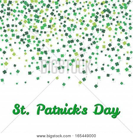 Vector Illustration of a St. Patrick's Day text with clover green leaves isolated on a white background