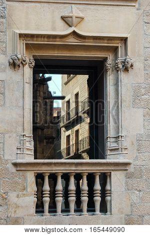 Balcony on the Placa del Rei in Barcelona, Catalonia, Spain